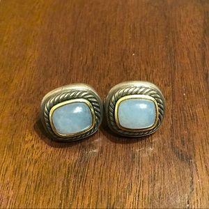 David Yurman Blue Chalcedony Cable Earrings